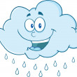 Stock Photo: Cloud Raining Cartoon Mascot Character