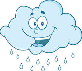 Cloud Raining Cartoon Mascot Character — Stock Photo