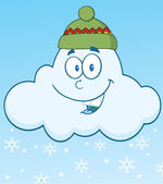 Smiling Cloud With Snowflakes Character — Stock Photo