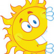 Stock Photo: Smiling Sun Looking Around Sign Cartoon Mascot Character
