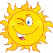 Stock Photo: Winked Sun Cartoon Mascot Character