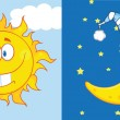 Sun And Moon Cartoon Mascot Characters — Stock Photo #38482225