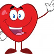 Happy Heart Cartoon Mascot Character Waving For Greeting — Foto de stock #38482275