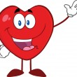 Happy Heart Cartoon Mascot Character Waving For Greeting — Foto Stock #38482275