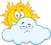 Happy Sun Smiling Behind A Sad Cloud Cartoon Mascot Characters — Stock Photo