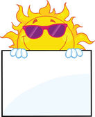 Smiling Sun With Sunglasses Cartoon Character Over A Sign Board — Stock Photo