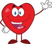 Happy Heart Cartoon Mascot Character Waving For Greeting — Stock Photo