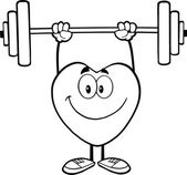 Black And White Smiling Heart Cartoon Mascot Character Lifting Weights — Stock Photo