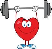 Smiling Heart Cartoon Character Lifting Weights — Stock Photo