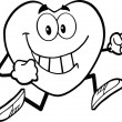 Black And White Smiling Heart Cartoon Mascot Character Running — Stock Photo