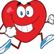 Smiling Heart Cartoon Character Running — Stock Photo