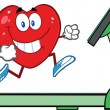 Healthy Heart Running On A Treadmill — Stock Photo