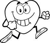 Sorridendo con esecuzione mascotte carattere di cuore cartone animato in bianco e nero — Foto Stock