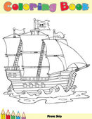 Pirate Ship Coloring Book Page — Stock Photo