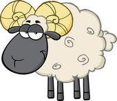 Cute Black Head Ram Sheep Cartoon Mascot Character — 图库照片