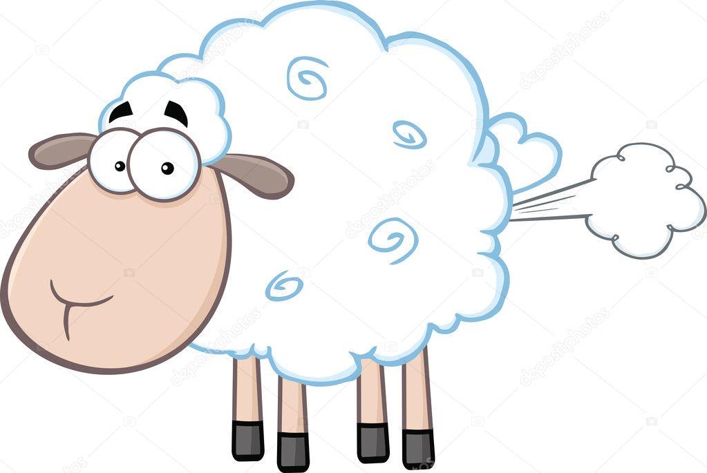 Pecore bianche carino fumetto personaggio mascotte con