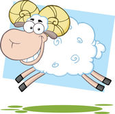 White Ram Sheep Cartoon Character Jumping — Stock Photo