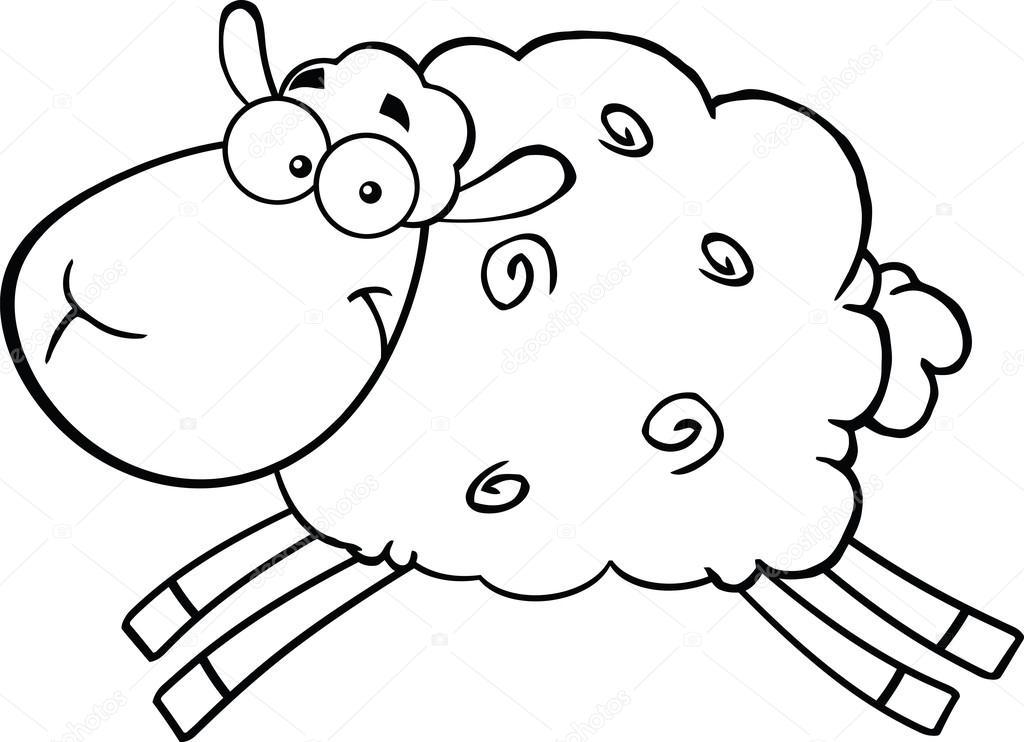 ovelhas preto e brancas dos desenhos animados pulando de personagem ... White Parson Russell Terrier