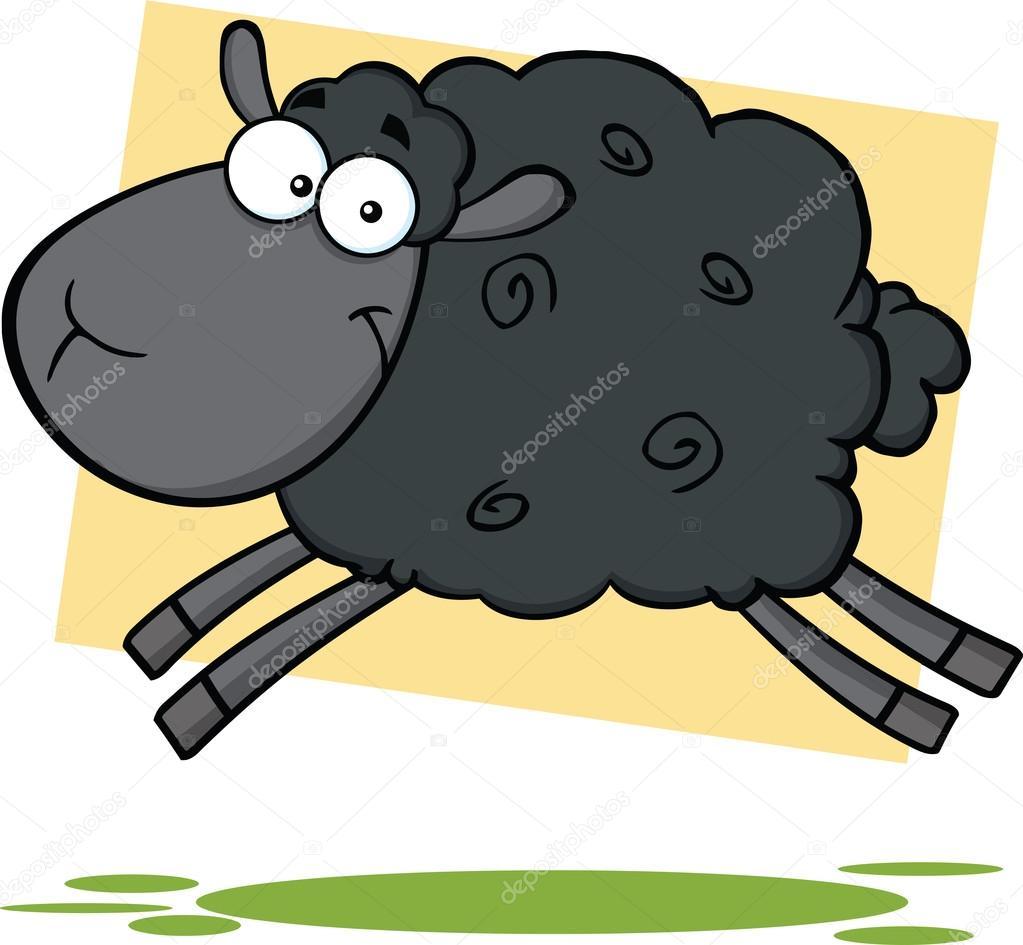 Personnage de dessin anim dr le de mouton noir sauter - Mouton dessin anime ...