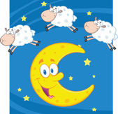 Three Funny Counting Sheep Over A Moon — Stock Photo