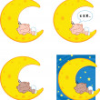 Baby Sleeping on A Moon Cartoon Characters Collection Set — Stock Photo