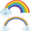 Clouds Raining With Rainbow Cartoon Characters Collection Set — Stock Photo