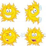 Sun Cartoon Mascot Characters 3 Collection Set — Stock Photo #39507461