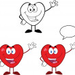 Stock Photo: Heart Cartoon Characters Waving Collection Set