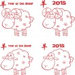 Sheep Cartoon Characters Red Lined Collection Set — Stock Photo