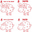 Sheep Cartoon Characters Red Lined Collection Set — Stock Photo #39507529