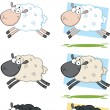 Sheep Cartoon Characters Jumping Collection Set — Stock Photo