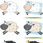 Sheep Cartoon Characters Jumping Collection Set — Stock Photo #39507531