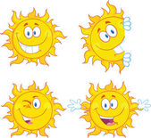Sun Cartoon Mascot Characters 3 Collection Set — Stock Photo