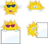 Sun Cartoon Mascot Characters 2 Collection Set — Stock Photo