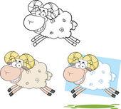 Personajes de dibujos animados de ovejas Ram salto conjunto de colección — Foto de Stock