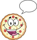 Funny Pizza Cartoon Mascot Character With Speech Bubble — Stock Photo