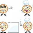 Pizza Cartoon Character 2 Collection Set — Stock Photo #39682345