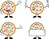 Pizza Cartoon Character 1 Collection Set — Stock Photo
