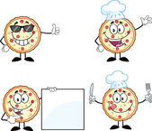 Pizza Cartoon Character 2 Collection Set — Stock Photo