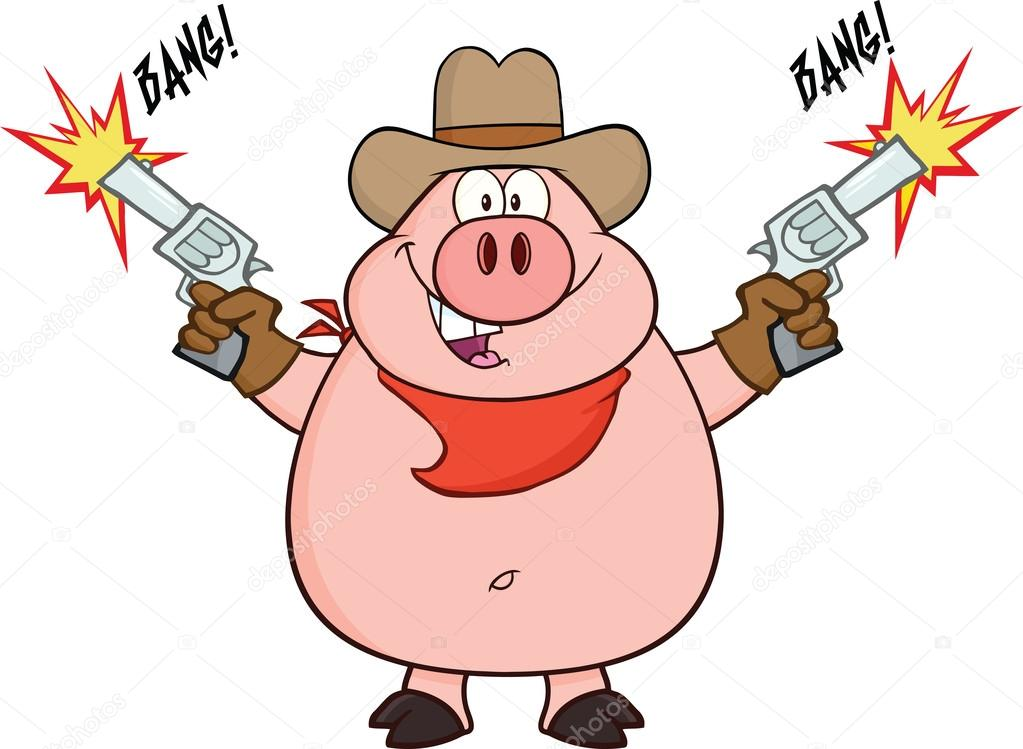 cowboy pig cartoon character shooting with two guns lasso clip art black and white lasso clip art image