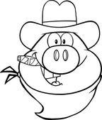 Black And White Cowboy Pig Head Cartoon Character — Stock Photo
