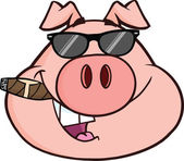 Businessman Pig Head With Sunglasses And Cigar — Foto Stock