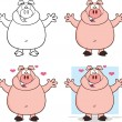 Stock Photo: Pig Cartoon Characters 5 Collection Set