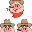 Pig Head Characters 1 Collection Set — Stock Photo