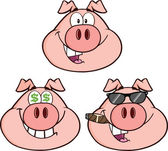 Pig Head Characters 2 Collection Set — Stock Photo