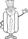 Black And White Hot Dog Cartoon Character With American Patriotic Hat Waving — Stock Photo