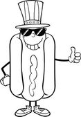 Black And White Hot Dog With Sunglasses And Patriotic Hat Showing A Thumb Up — Stock Photo