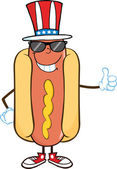 Smiling Hot Dog With Sunglasses And Patriotic Hat Showing A Thumb Up — Stock Photo