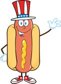 Hot Dog Cartoon Character With American Patriotic Hat Waving — Stock Photo