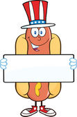 Hot Dog Character With American Patriotic Hat Holding A Banner — Stock Photo